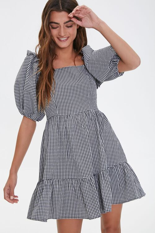 Gingham Balloon-Sleeve Dress, image 1