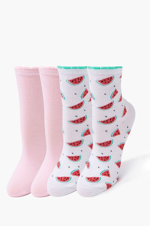 Watermelon Print Crew Sock Set, image 1