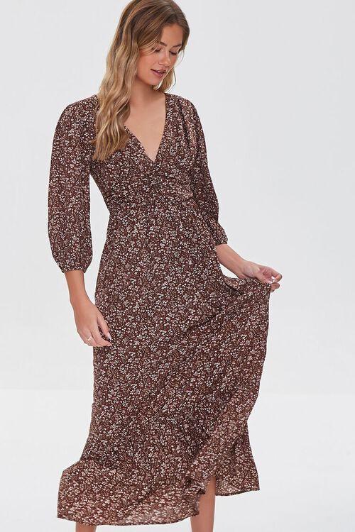 BROWN/MULTI Floral Print Maxi Dress, image 1