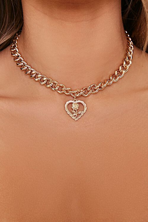 GOLD Rose Heart Pendant Necklace, image 1