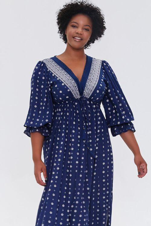 NAVY Plus Size Ornate Print Midi Dress, image 4