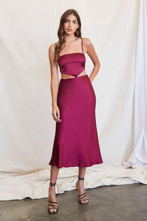 PLUM Cutout Satin Midi Dress, image 4