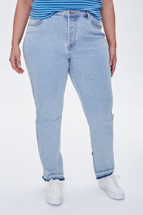 LIGHT DENIM Plus Size Release-Hem Jeans, image 2