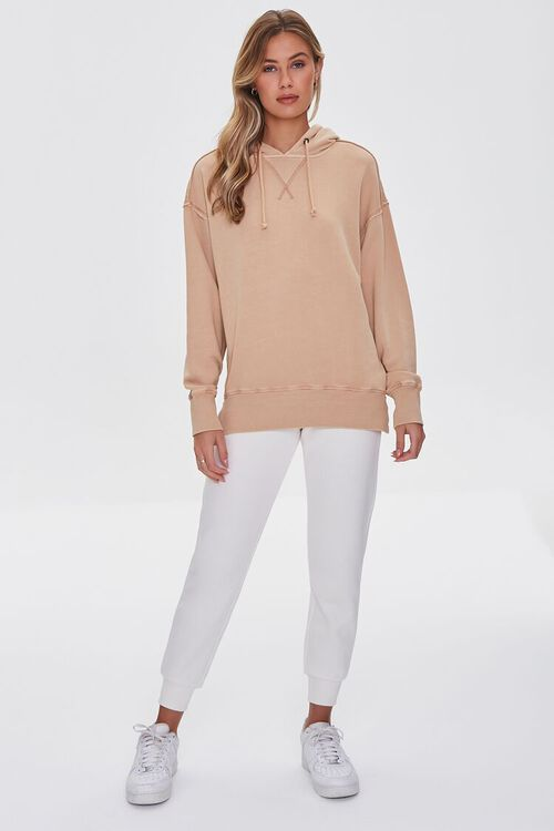 TAUPE French Terry Drop-Sleeve Hoodie, image 4