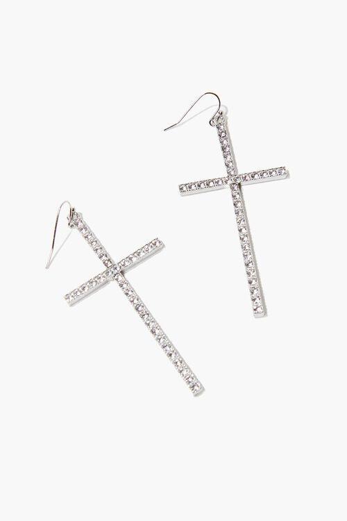 SILVER Rhinestone Cross Pendant Drop Earrings, image 1