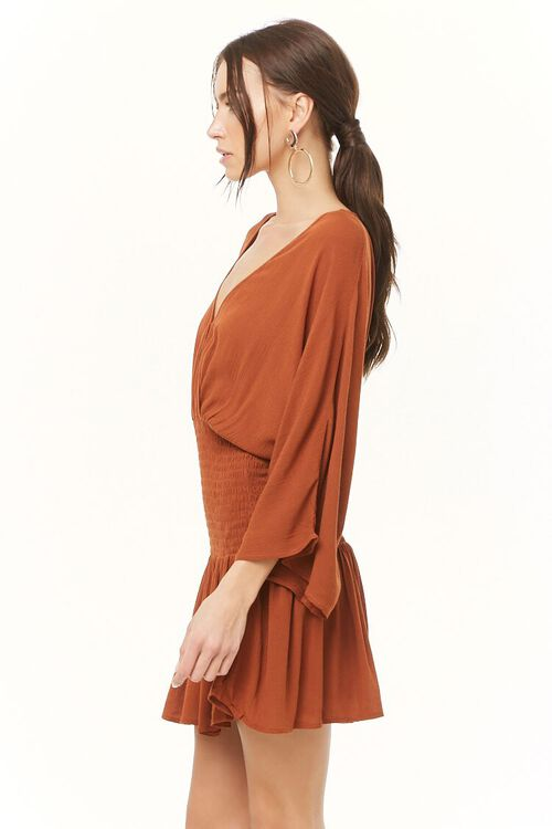 Smocked Surplice Mini Dress, image 2