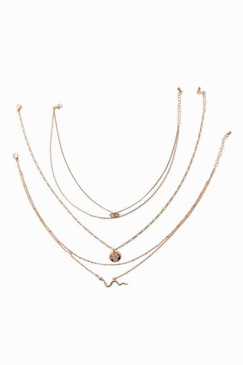 GOLD Snake Pendant Choker Necklace Set, image 2