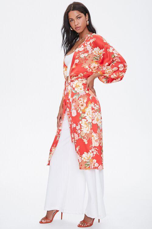 Satin Floral Kimono, image 2