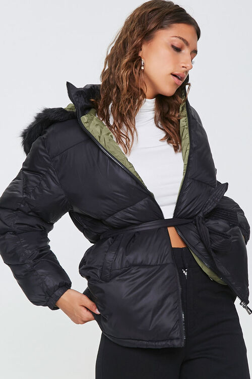 Faux Fur-Trim Puffer Jacket, image 1