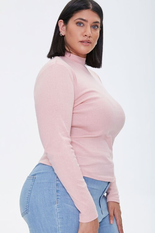 Plus Size Fitted Mock Neck Top, image 2