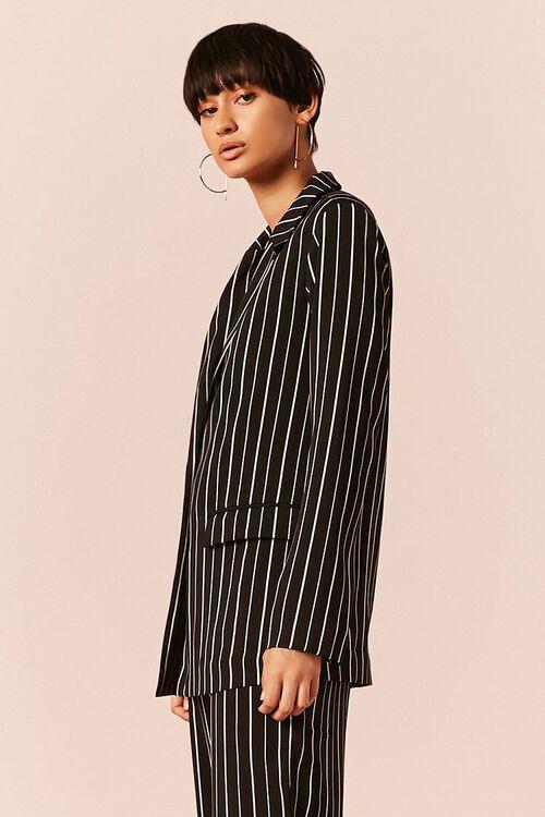 BLACK/IVORY Striped Button-Front Blazer, image 2
