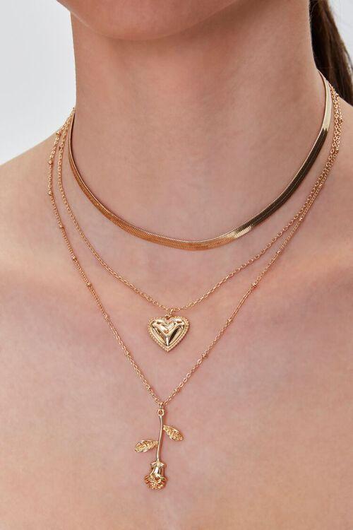 Rose Pendant Layered Necklace, image 1