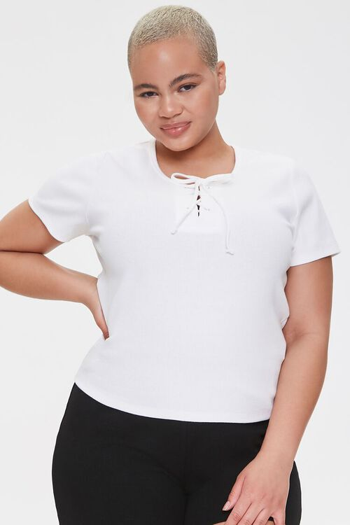 Plus Size Lace-Up Tee, image 1
