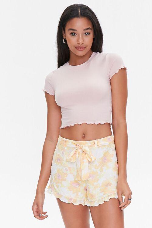 YELLOW/MULTI Floral Print Ruffle-Trim Shorts, image 1