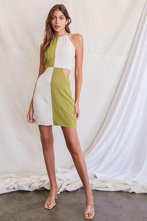 OLIVE/NATURAL Colorblock Halter Mini Dress, image 4