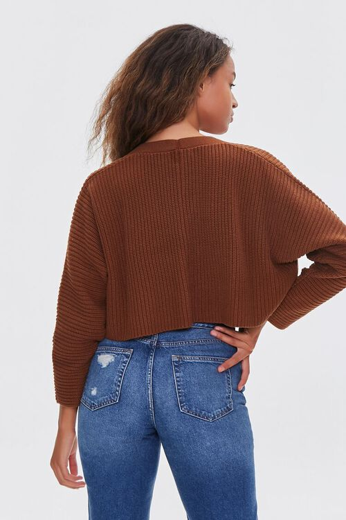 BROWN Ribbed Cropped Cardigan Sweater, image 3