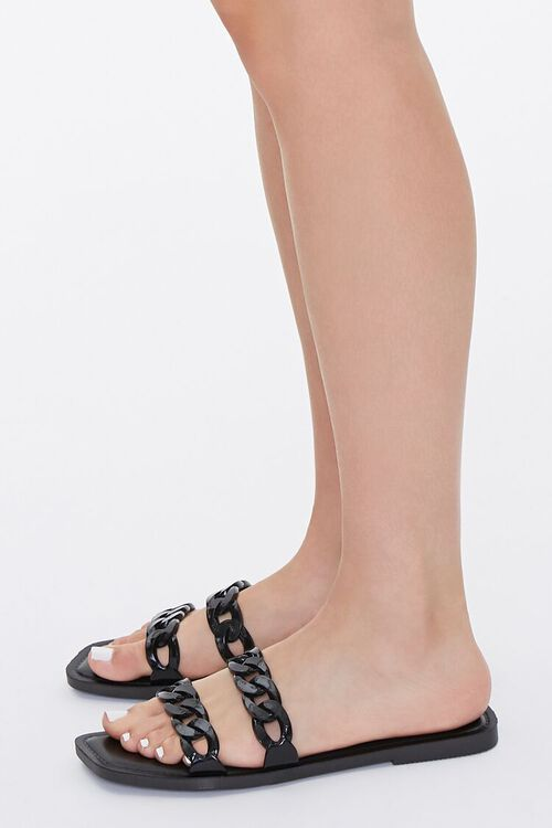 BLACK Chain-Strap Slip-On Sandals, image 2