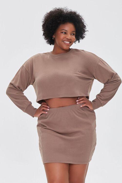 Plus Size Crop Top & Skirt Set, image 1