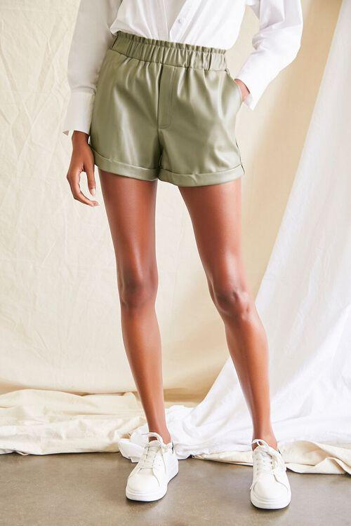 OLIVE Coated Cuffed Shorts, image 2