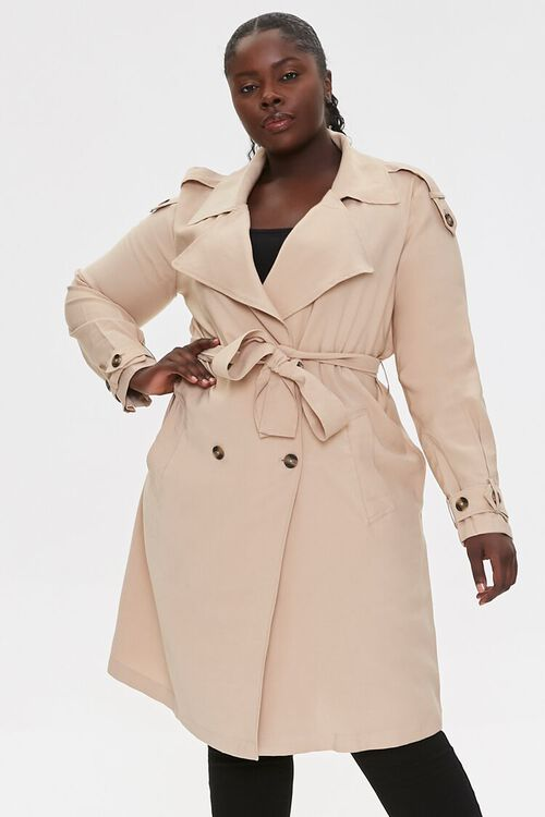 Plus Size Double-Breasted Coat, image 1