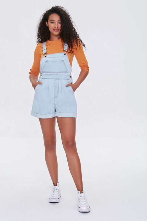 Cuffed Denim Overall Shorts, image 4