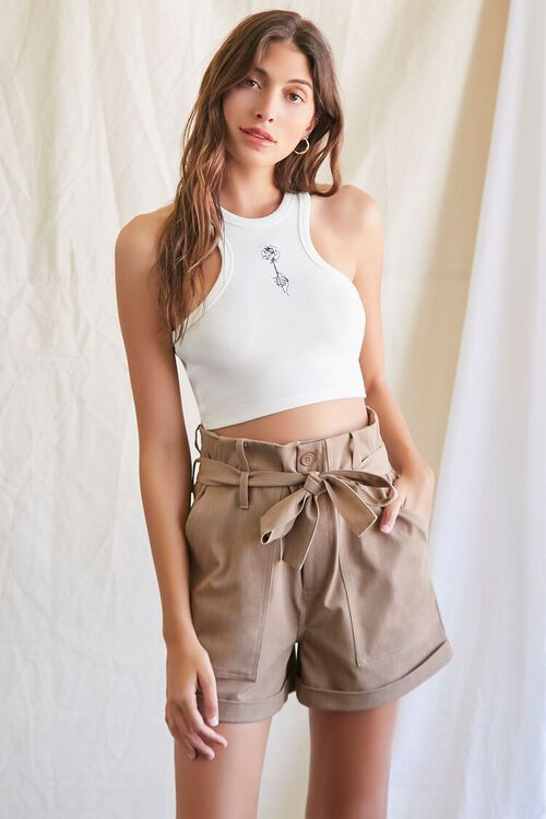 Embroidered Rose Crop Top, image 1