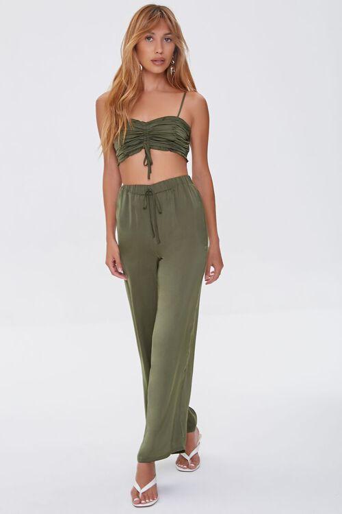 Ruched Crop Top & Drawstring Pants Set, image 1