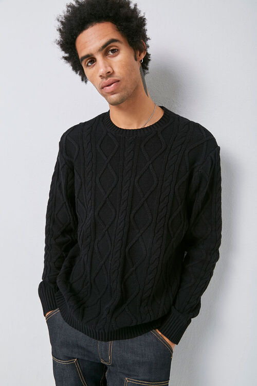 Cable-Knit Crew Neck Sweater, image 1