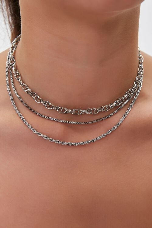 SILVER Assorted Chain Necklace Set, image 1