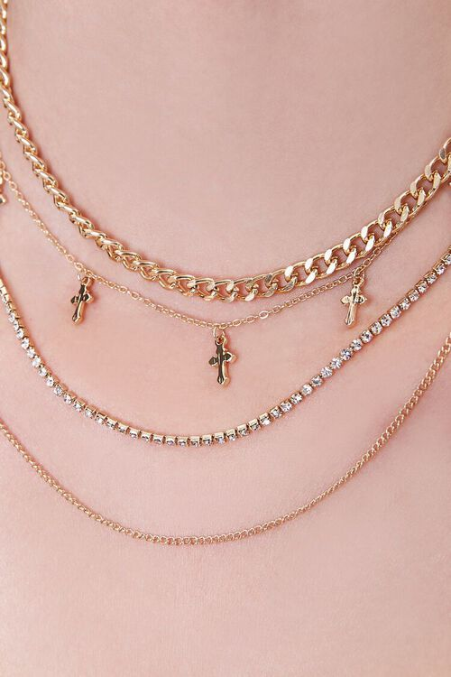 GOLD Cross Charm Layered Chain Necklace, image 2