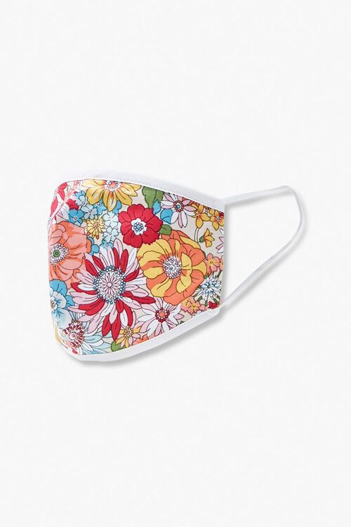 Girls Floral Print Face Mask (Kids), image 2