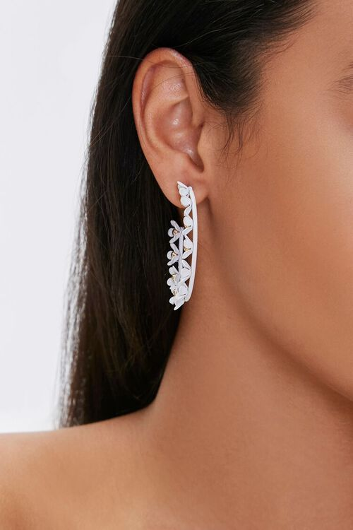 GOLD/WHITE Floral Hoop Earrings, image 2
