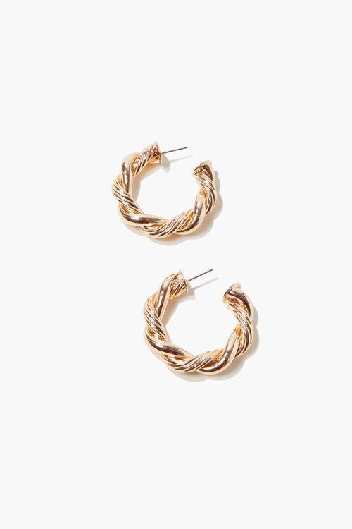 GOLD Twisted Hoop Earrings, image 1