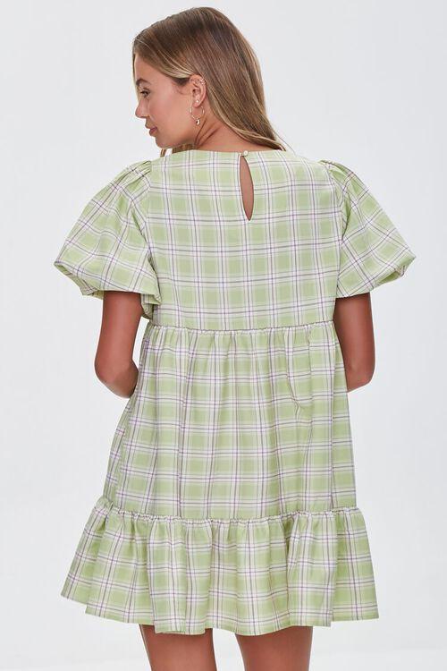 PISTACHIO/MULTI Tiered Plaid Mini Dress, image 3
