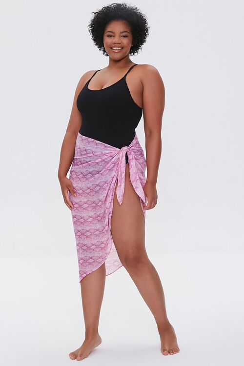Plus Size Snake Print Swim Cover-Up Sarong, image 5