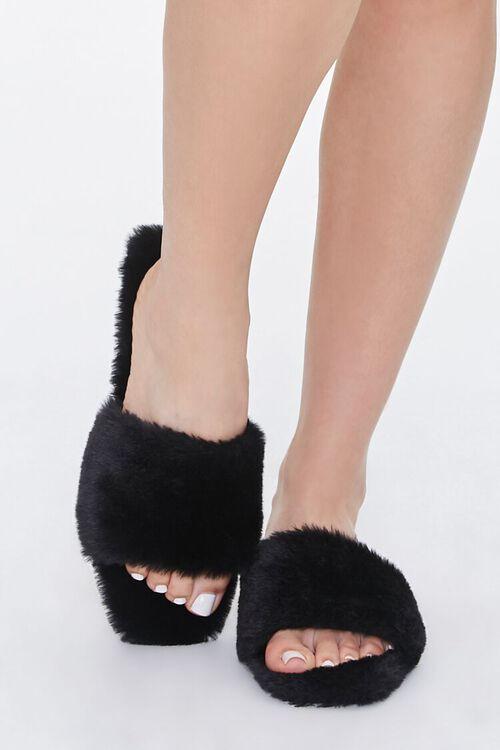 Faux Fur Open-Toe Slippers, image 4