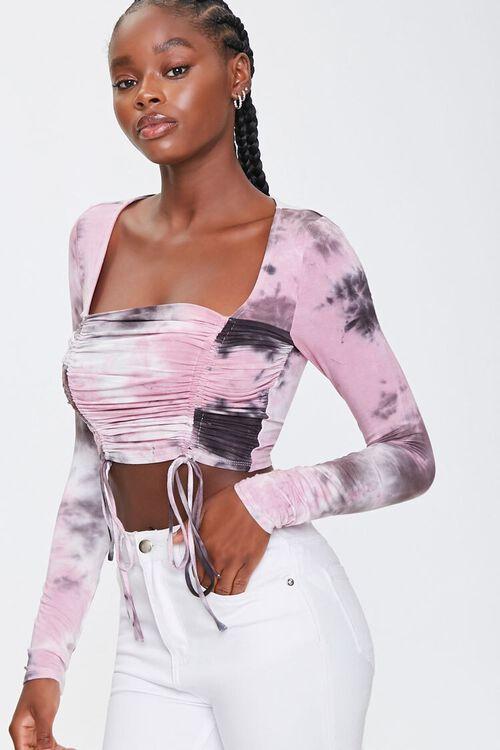 BLACK/MULTI Tie-Dye Ruched Crop Top, image 1