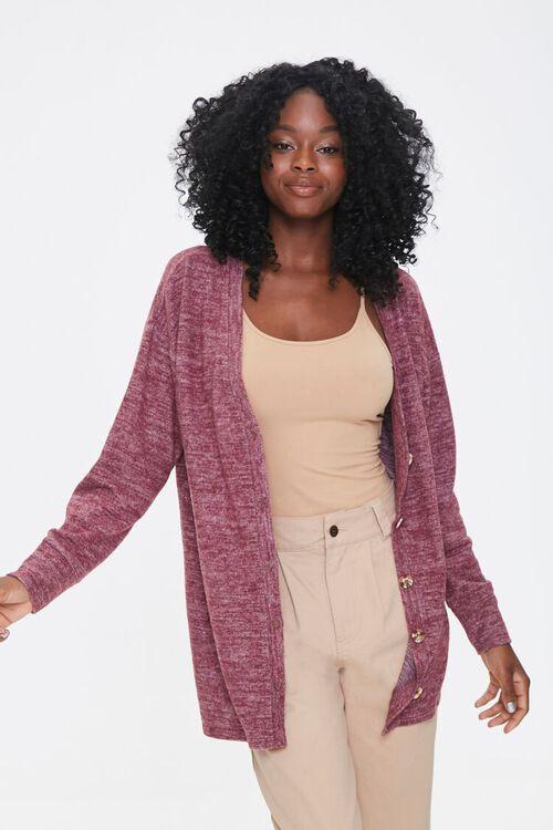 Heathered Knit Cardigan Sweater, image 1