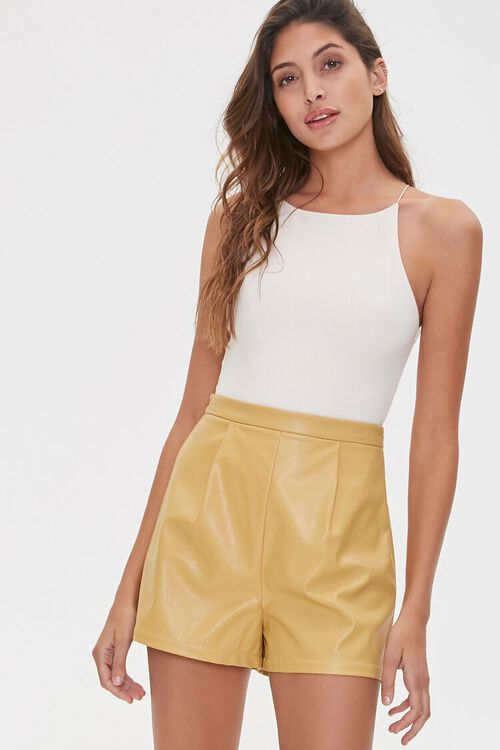 TAN Faux Leather Shorts, image 1