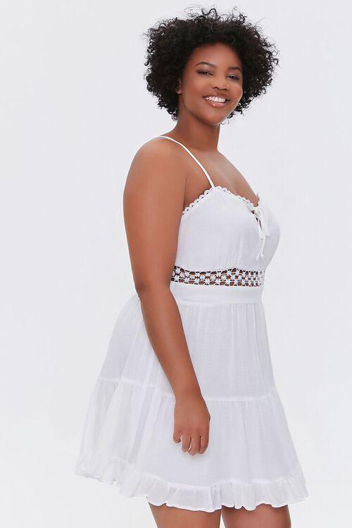 Plus Size Crochet-Trim Mini Dress, image 2