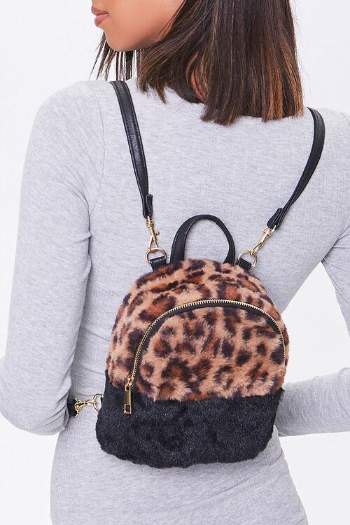 Faux Fur Leopard Print Backpack, image 1