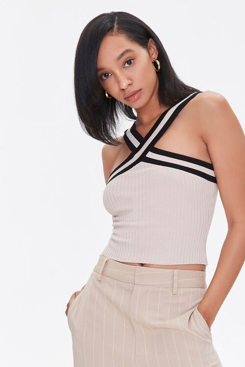 Sweater-Knit Halter Top, image 1