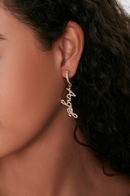 Angel Text Pendant Drop Earrings, image 1