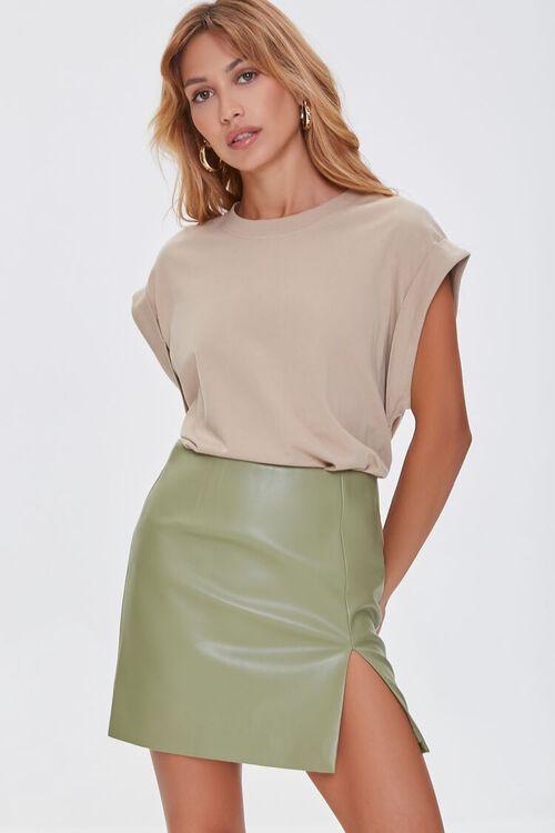 Faux Leather Mini Skirt, image 1