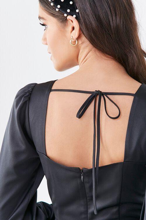 BLACK Flounce Satin Mini Dress, image 5