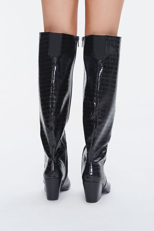 Faux Croc Leather Knee-High Boots, image 3