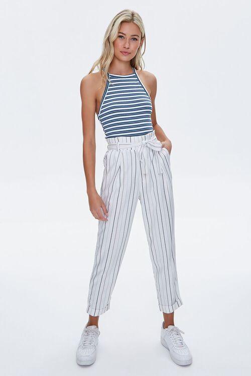 IVORY/BLUE Striped Paperbag Pants, image 6