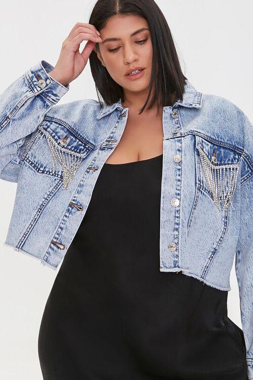 Plus Size Rhinestone Denim Jacket, image 1