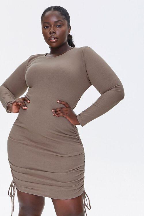 Plus Size Ruched Drawstring Dress, image 1