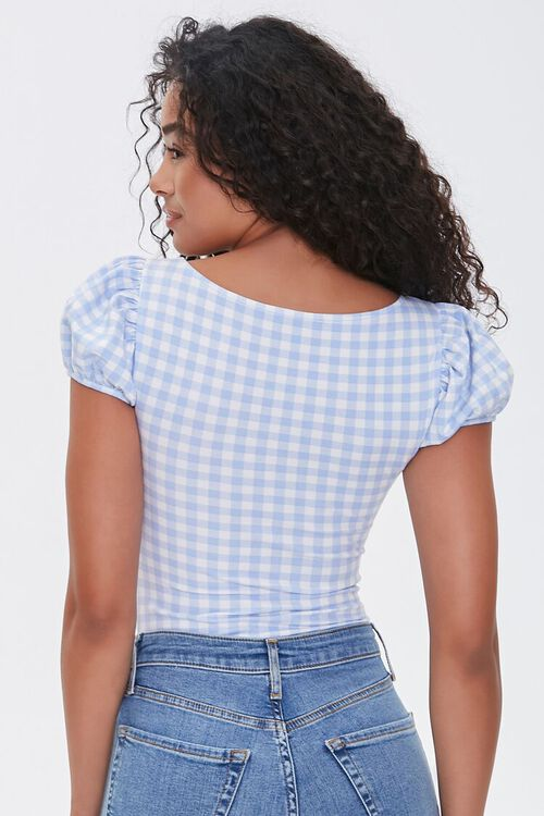 PERIWINKLE/WHITE Ruched Gingham Bodysuit, image 3
